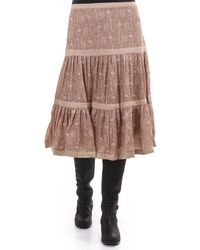 Plenty by Tracy Reese Tiered Wool Knee Length Skirt - Brown