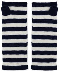 The West Village Somerville Navy And White Cashmere Wrist Warmers - Blue