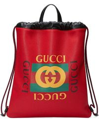 Gucci Drawstring Backpack - Red