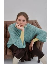 Soaked In Luxury Sunflower Chunky Knit Pullover Blue Surf