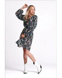 POM Amsterdam Dress - Roses Midnight Blue Shimmer - Multicolour