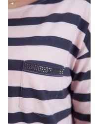 MARC AUREL Long Sleeve Stripe Tee In Nude - Blue