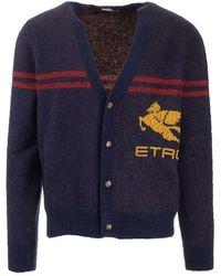 Etro - Men's 1n30996770200 Blue Wool Cardigan - Lyst