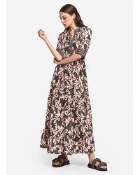 Ottod'Ame Floral Printed Maxi Dress Khaki - Multicolour