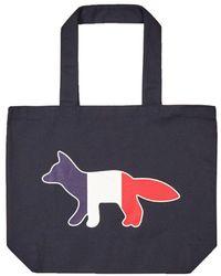 Maison Kitsuné Tricolor Fox Patch Canvas Tote Bag - Blue