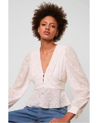 French Connection Brenna Sheer Printed V Neck Top - White