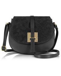 Le Parmentier Women's H115black Black Leather Shoulder Bag