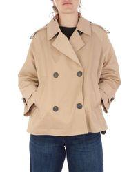 Peserico Women's S2324605931146 Beige Polyester Coat - Brown