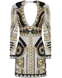 Frock and Frill Starlet Embellished Plunge Mini Dress - Multicolour
