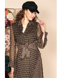 Rene' Derhy Electricite Chiffon Print Shirt Dress - Brown