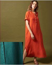 Hartford Raglan Lagoon Linen Dress - Red