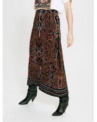Hayley Menzies Aztec Tiger Jacquard Midi Skirt - Brown