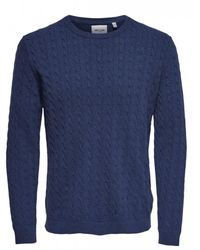 Only & Sons Alex Light Cable Knit Royal Blue