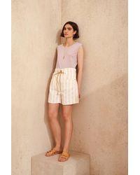 Bellerose Pistil Stripe Shorts - Natural