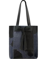 Brix + Bailey Navy Bow Front Hair On Hide Leather Tote - Black