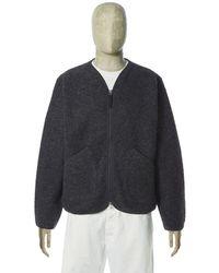 Universal Works Cardigan Wool Fleece Charcoal - Gray