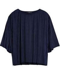 Atterley Fiocchi Pleated Jersey Blouse - Ultramarine - Blue