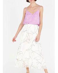 Suncoo Fonda - White Printed Pleated Midi Skirt