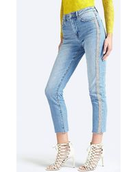 Guess Used-look Glitter Stripe Jeans - Blue