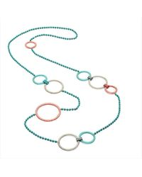 Azuni London Delica Multi Hoop And Crystal Long Necklace - Pink