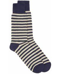Universal Works Stripe Cotton Socks Navy / Sand - Blue