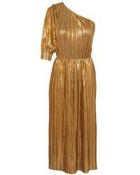 Lisou Riva Gold Metallic Plisse One Shoulder Dress