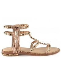 Ash Power Rame Gold Leather & Gold Studs Sandals - Metallic