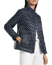 Basler Navy And White Spotty Quilted Reversible Outdoor Jacket 2206111401 - Blue