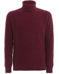 Paolo Fiorillo Capri Fisherman's Rib Knitted Wool Turtleneck - Red