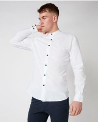 Remus Uomo Grandad Collar Shirt - White