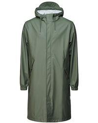 Rains Fishtail Zip Hooded Parka Olive - Green