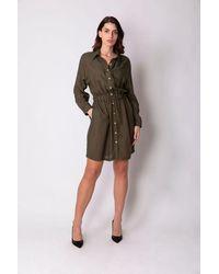 Haris Cotton Linen-blend Shirt-dress With Elasticated Waistband - Olive/black - Green
