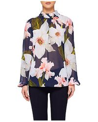 Ted Baker - Tily Chatsworth Ruched Blouse Grey - Lyst