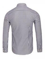 Eton of Sweden Slim Fit Check Pointed Collar Shirt (navy) - Blue
