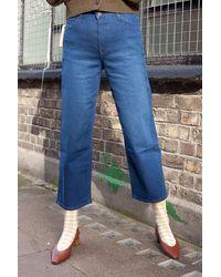 Lee Jeans Wide Leg Dark Worn Jeans - Blue