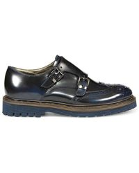 Barracuda Leather Monk Strap Shoes - Blue