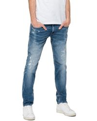 Replay Anbass Slim Fit Jeans - Aged Eco 10 Year Mid Rip & Repair - Blue