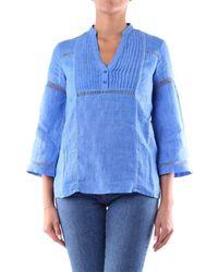 Purotatto Women's Ss200275146azzurro Light Blue Linen Blouse