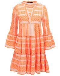 Devotion New Season - Ella Short Dress Neon /off White - Orange