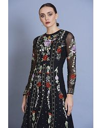 Frock and Frill Heather Embroidered Long Sleeve Maxi Dress - Black