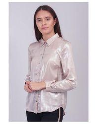 Saint Tropez Woven Metallic Shirt Colour: Cream - Multicolour