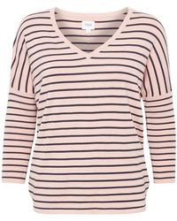 Saint Tropez Bonnie Knitted V-neck Pullover - Pink
