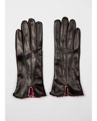 Paul Smith Leather Swirl Trim Gloves Colour: Black