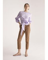 Paisie Blouse With Wrap Tie Waist And Balloon Sleeves In Lilac - Pink