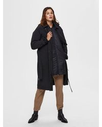 SELECTED Helen Hooded Trenchcoat - Black