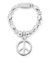 ChloBo Rice & Disc Ring With Peace Charm - Metallic