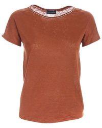 Paolo Fiorillo Capri Rhinestones T-shirt In - Brown