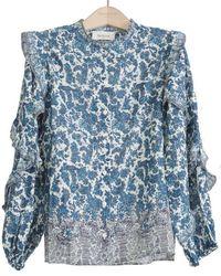 Berenice Timotee Ruffle Sleeve Cotton Blouse - Quitana - Blue