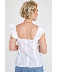Aspiga Sonia Organic Cotton Dobby Ruffles Top   - White