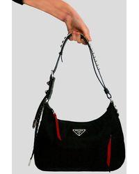 Prada Studded Hobo Bag - Black